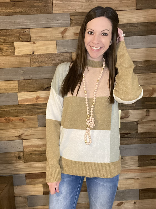 Blush/gray/taupe color block sweater