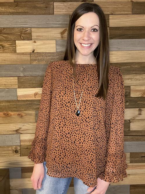 Rust leopard bell sleeve blouse