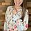 Thumbnail: Blue floral long sleeve blouse