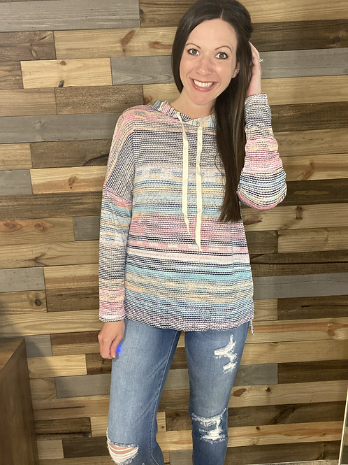 Multi color hooded top