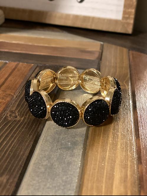 Black druzy stretchy bracelet