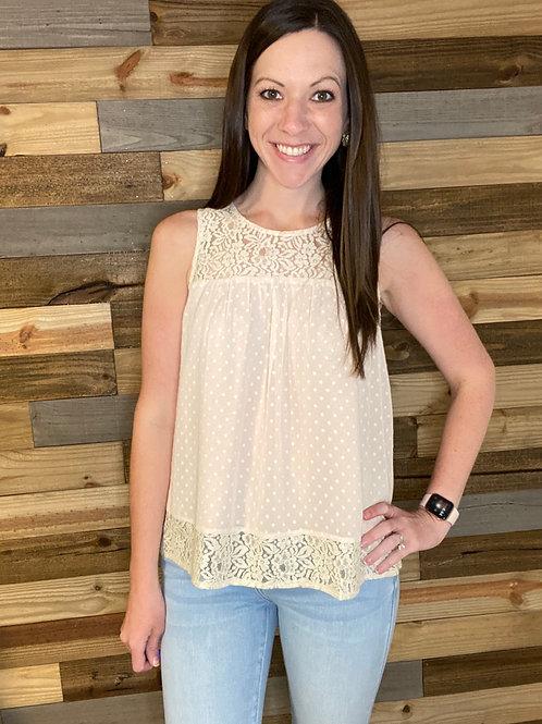 Blush dot lace blouse