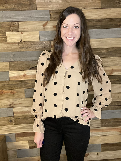 Taupe blouse with black textured dots