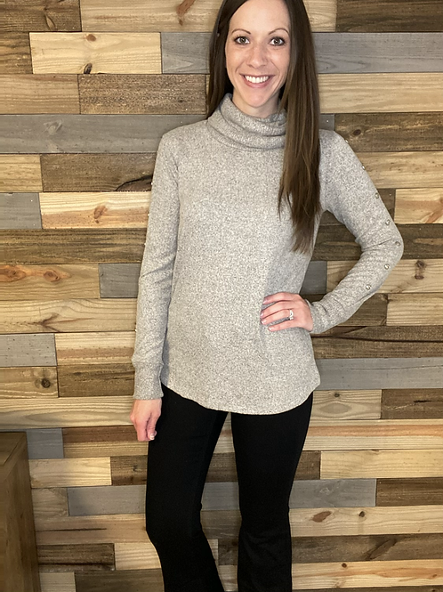 Oatmeal button sleeve turtle neck