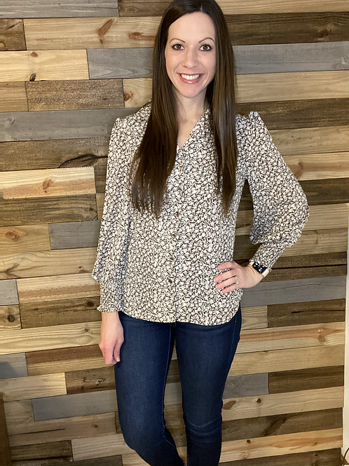 Brown floral button up blouse