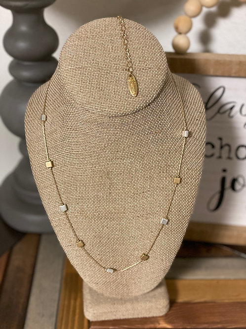 Silver & Gold squares necklace