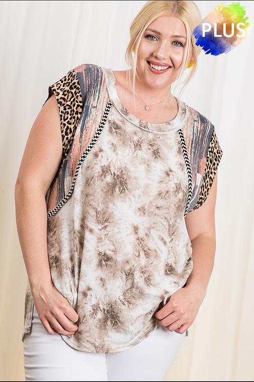 Plus Tie dye leopard sleeve top
