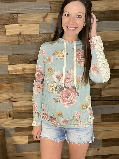 Lightweight floral hooded top