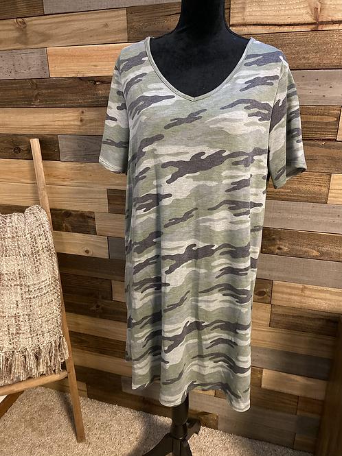 Plus size camo tshirt dress