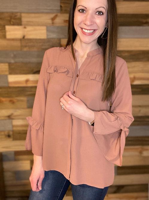 Ruffle detail button down blouse