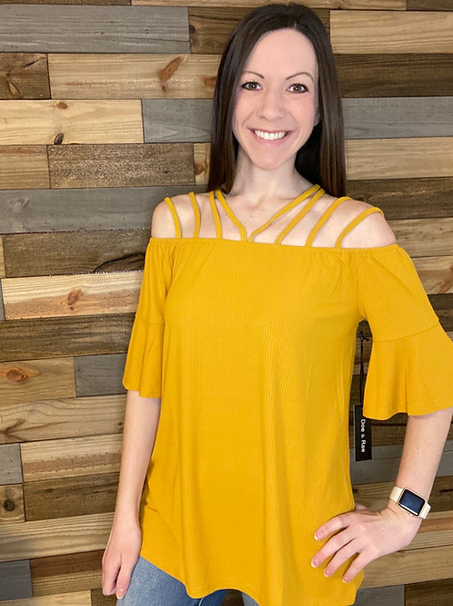 Mustard cold shoulder with bell sleeve