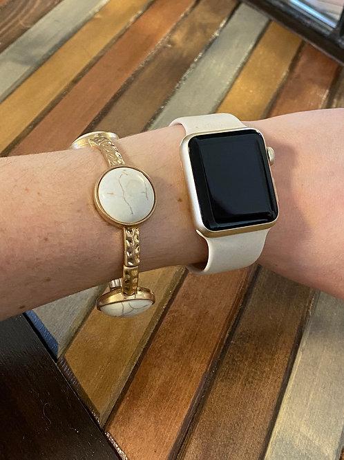 Stretchy white marble bracelet