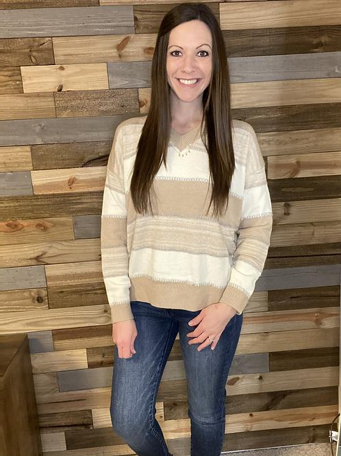 Neutral striped vneck sweater