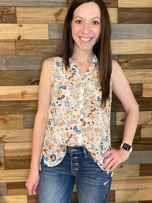 Print chiffon button up sleeveless top with pattern back