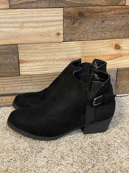 Black buckle booties