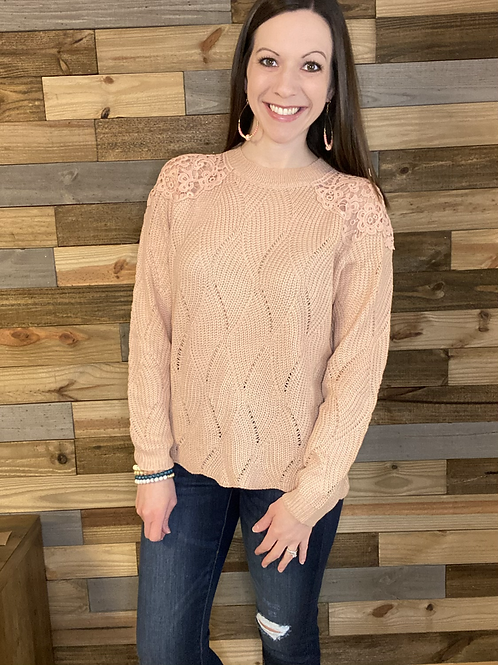 Dusty pink lace shoulder sweater