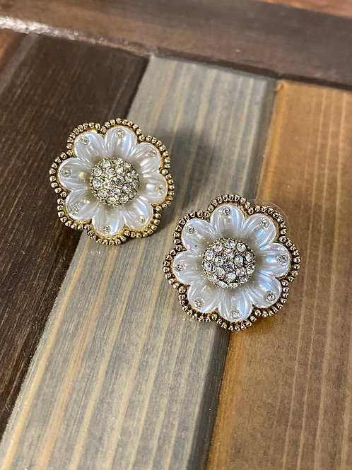 Rhinestone floral earrings