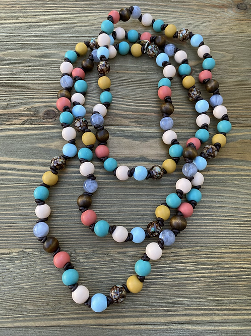 Wood beaded necklace