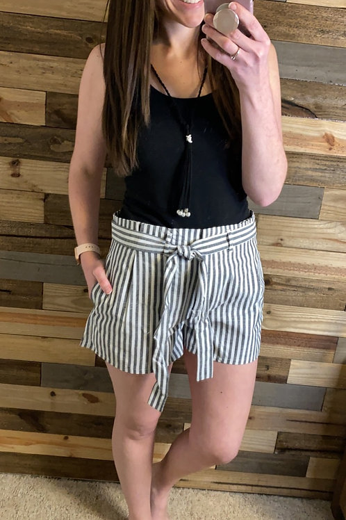 Black striped paper bag shorts