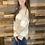 Thumbnail: Neutral striped vneck sweater
