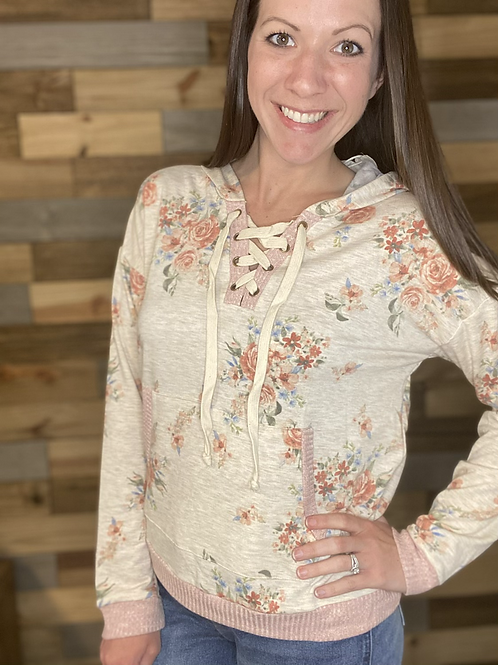 Floral lace up hoodie