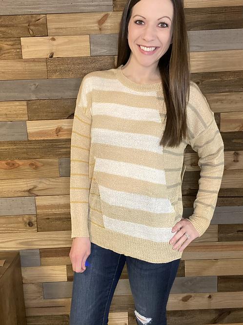 Unique striped lightweight sweater