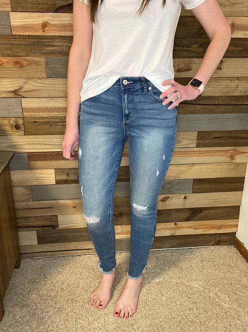 KanCan medium wash distressed ankle jeans
