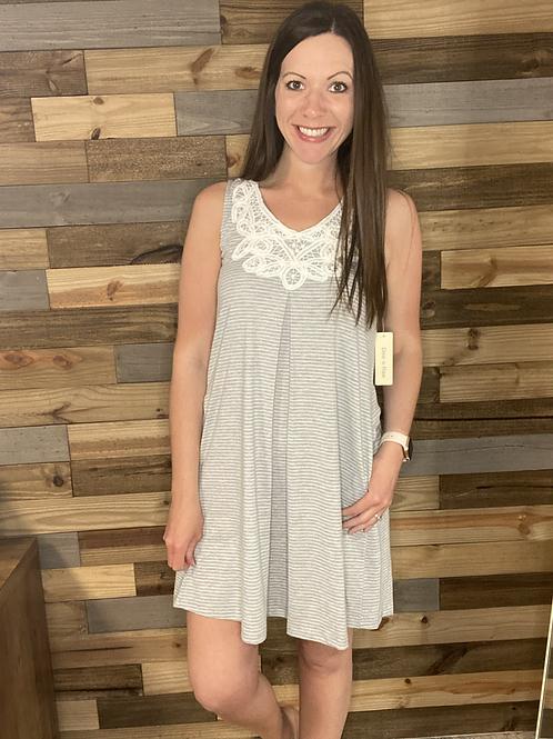 Gray striped lace dress