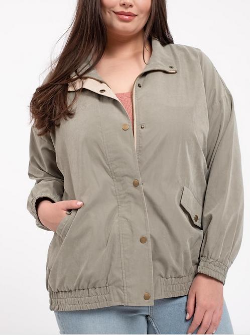 Plus size olive bomber jacket