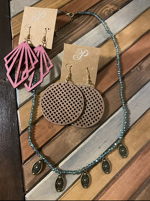 3 piece wooden earring/necklace set