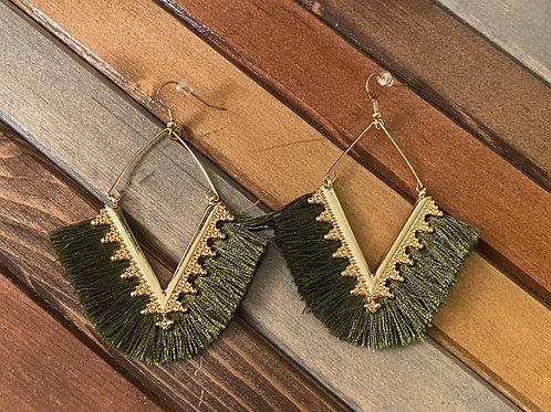 Olive green fringe earrings