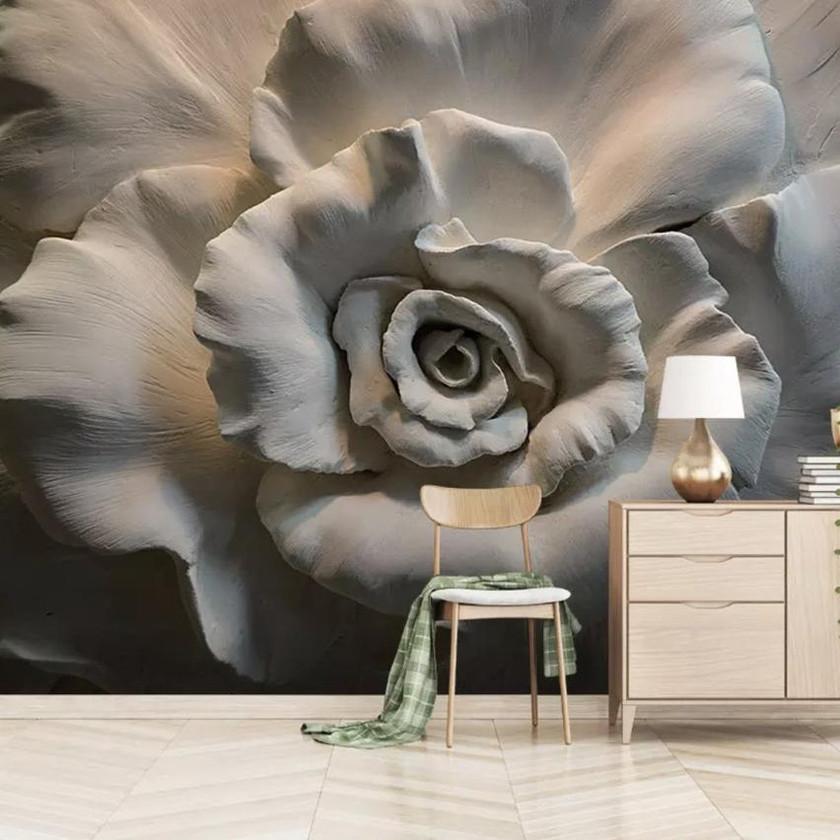 3D Embossed Cement Flower Wall Mural Rose Wall Art