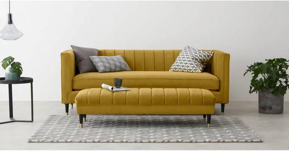 Evadine 3 Seater Sofa, Vintage Gold Velvet. Living room decor, Living room sofa. Mustard sofa