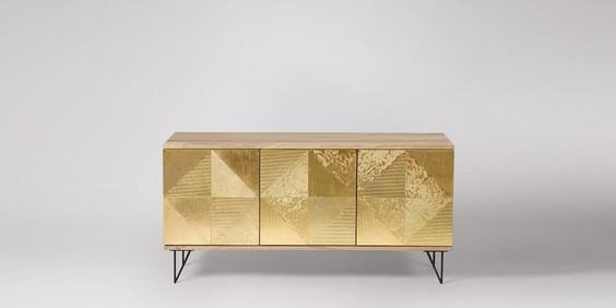 Nazca TV Stand, Natural Mango Wood & Brass. Sideboard. Hallway interior design