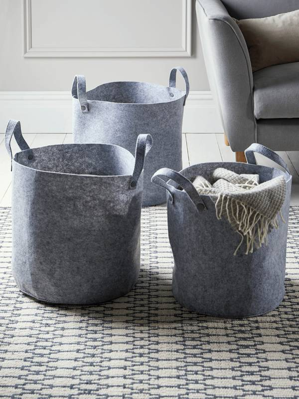 Three Felt Storage Bags