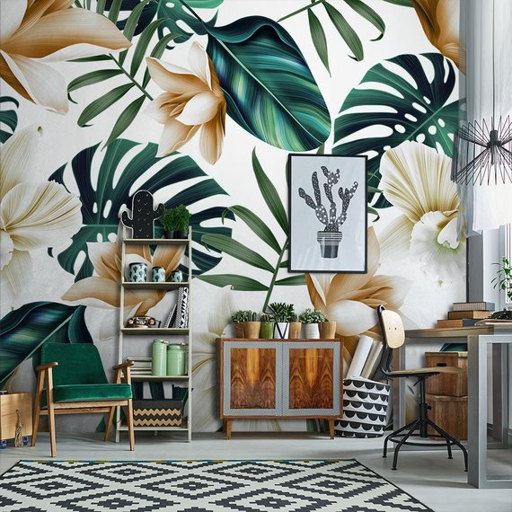 Wallpaper Tropical flowers Adhesive Wallpaper, Fabric effect - Very High Print Resolution - Wall stickers