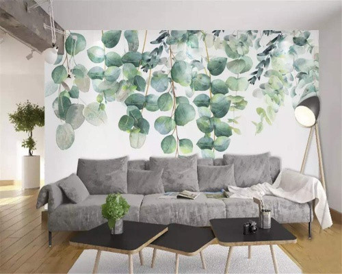 Living Room Wall Hand-Painted Watercolor Green Plants Leaf Background Wall Wallpaper Home Decor