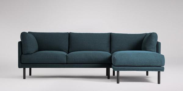 Merano Right-hand Corner Sofa, Agate Blue