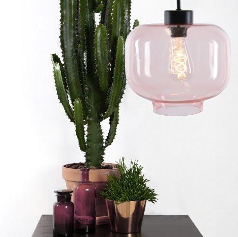 Blush pink pendant light. Ritz pendant light. Indoor plants. Cactus