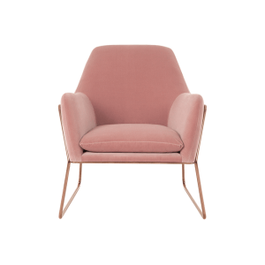 Frame Armchair in Blush Cotton Velvet