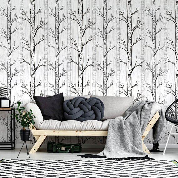 Wallpaper winter tree Adhesive Wallpaper, Fabric effect - Very High Print Resolution - Wall stickers