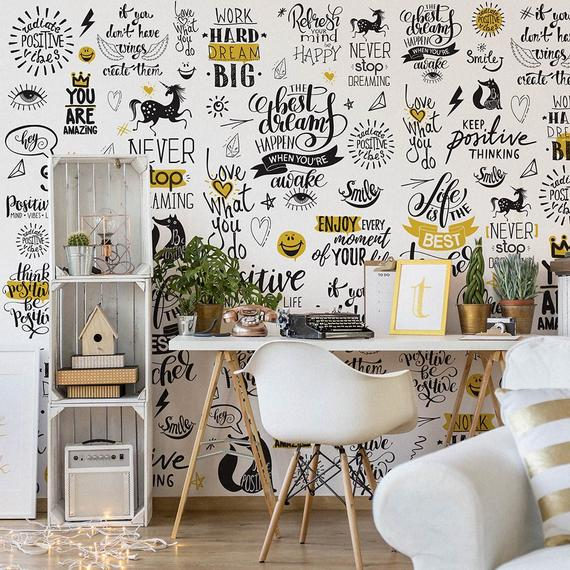 Wallpaper Be Positive Adhesive Wallpaper, Fabric effect - Very High Print Resolution - Wall stickers