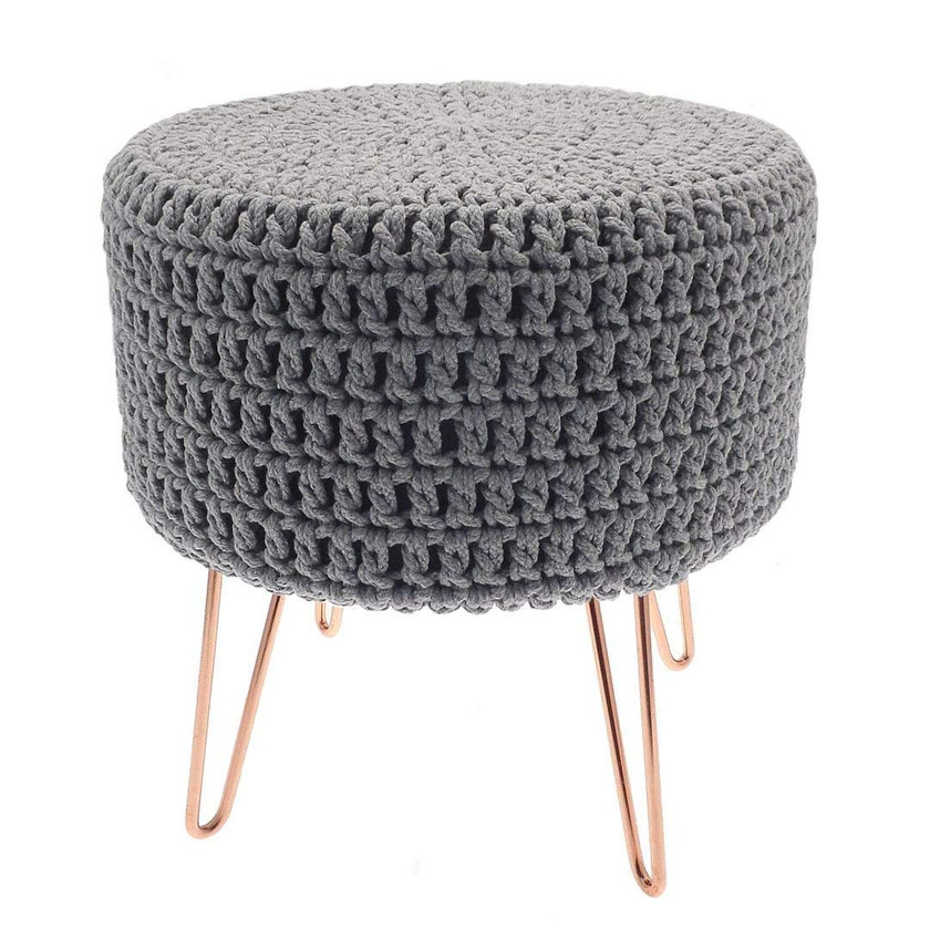 Knitted Grey Footstool. Pouffe Foot Stool Seat with Copper Legs . Footstool