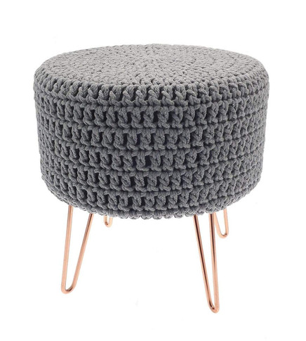 Homespace Knitted Grey Footstool