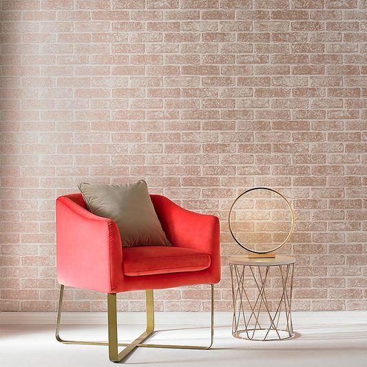 Metallic Brick Rose Gold White Wallpaper