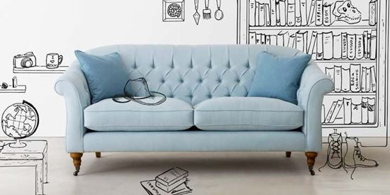 Abbotsbury sofa. A classic chesterfield sofa with a twist. High backed and incredibly comfortable it looks equally stunning in velvet , linens or wools