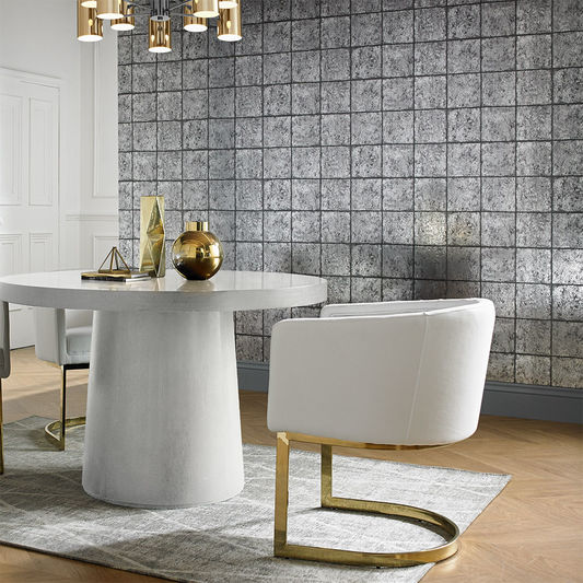 Oxidised Tile Blackened Wallpaper