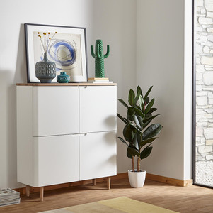 Ebbe Gehl for John Lewis Mira 4-door Cupboard, White/Oak. White sideboard. Hallway interior design. Small hallway design ideas