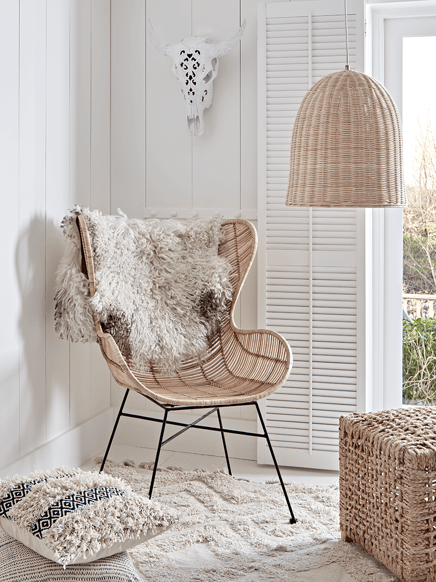 Flat Rattan Wing Chair - Natural
