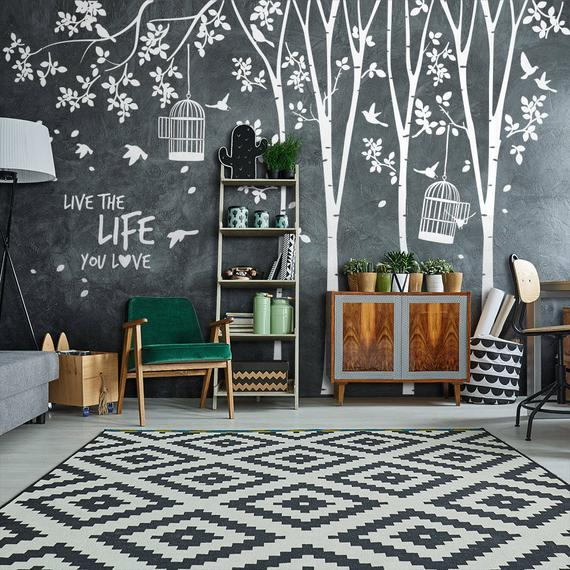 Forest with cages Wall Stickers Decoration trees
